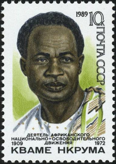A USSR stamp, 1989: The Soviet Union's postage stamp marking the 80th anniversary of the birth of Dr.h.c. Kwame Nkrumah